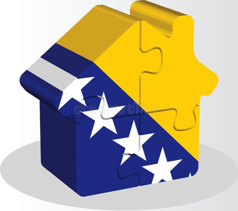 Значок дома домашний с флагом Боснии Herzegovinan в головоломке бесплатная иллюстрация