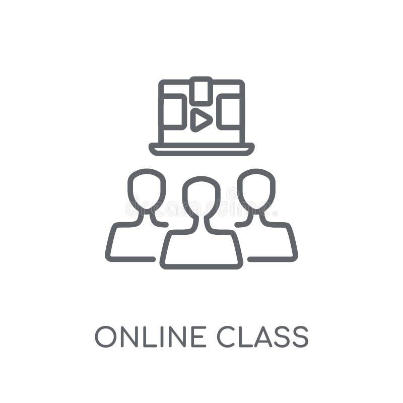 Значок онлайн класса линейный Conce логотипа класса современного плана онлайн иллюстрация вектора
