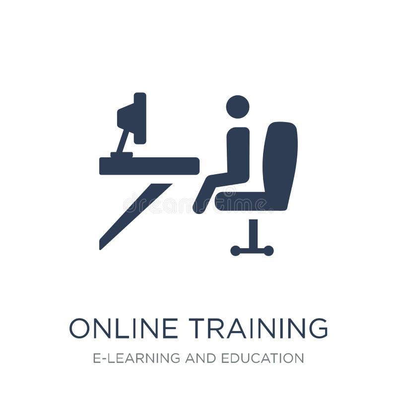 значок онлайн обучения Ультрамодный плоский значок онлайн обучения вектора дальше иллюстрация штока