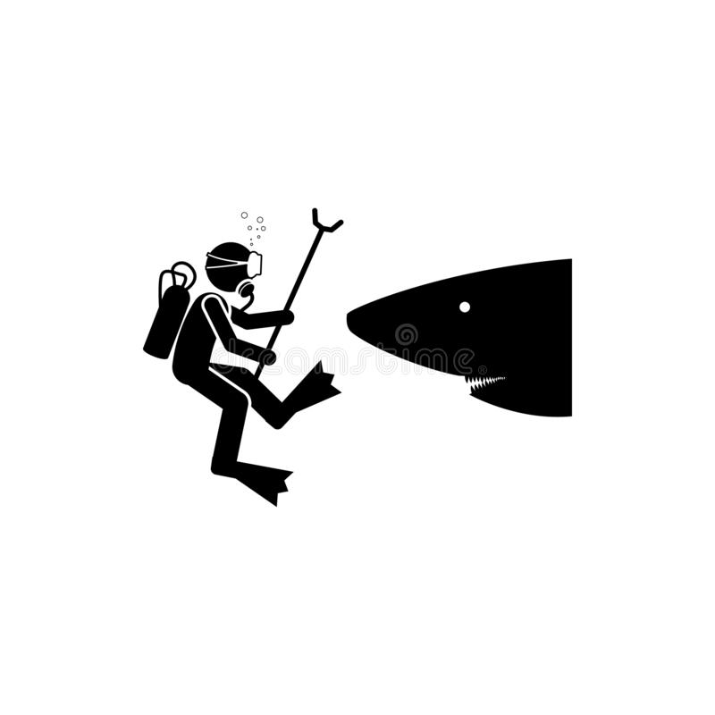 Значок опасности акулы водолаза Элемент значка подныривания для передвижных apps концепции и сети Значок опасности акулы водолаза бесплатная иллюстрация