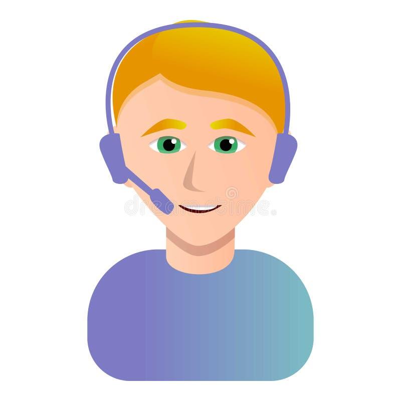 Значок оператора центра телефонного обслуживания, стиль мультфильма иллюстрация вектора