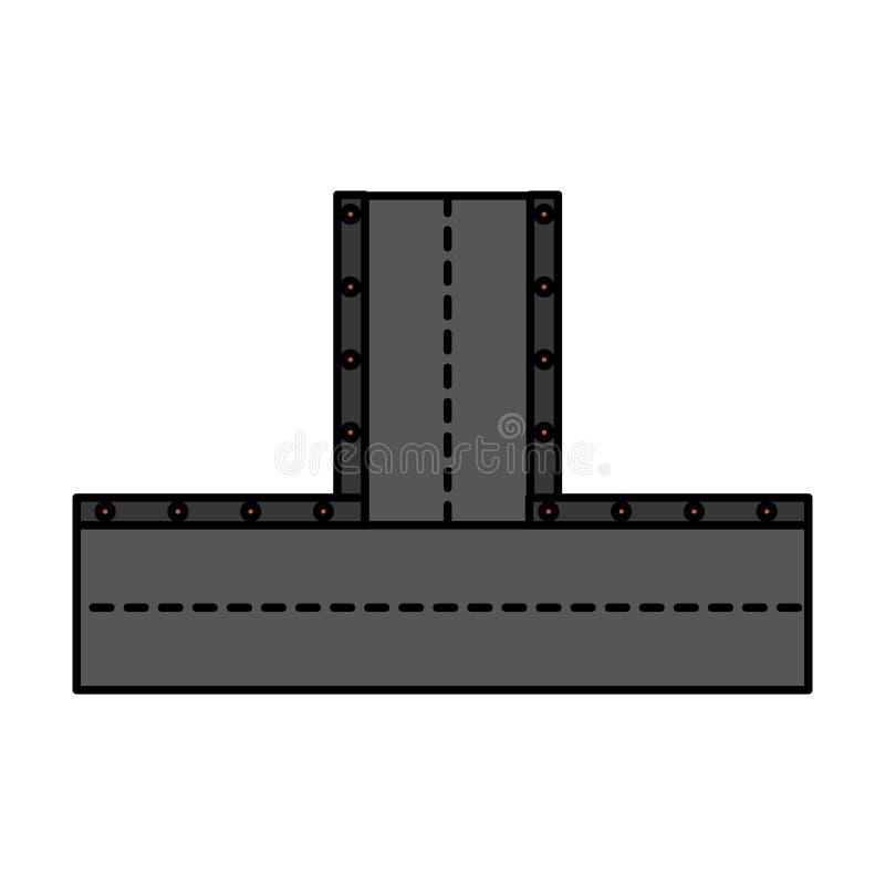 Значок дороги изолированный пересечением иллюстрация штока