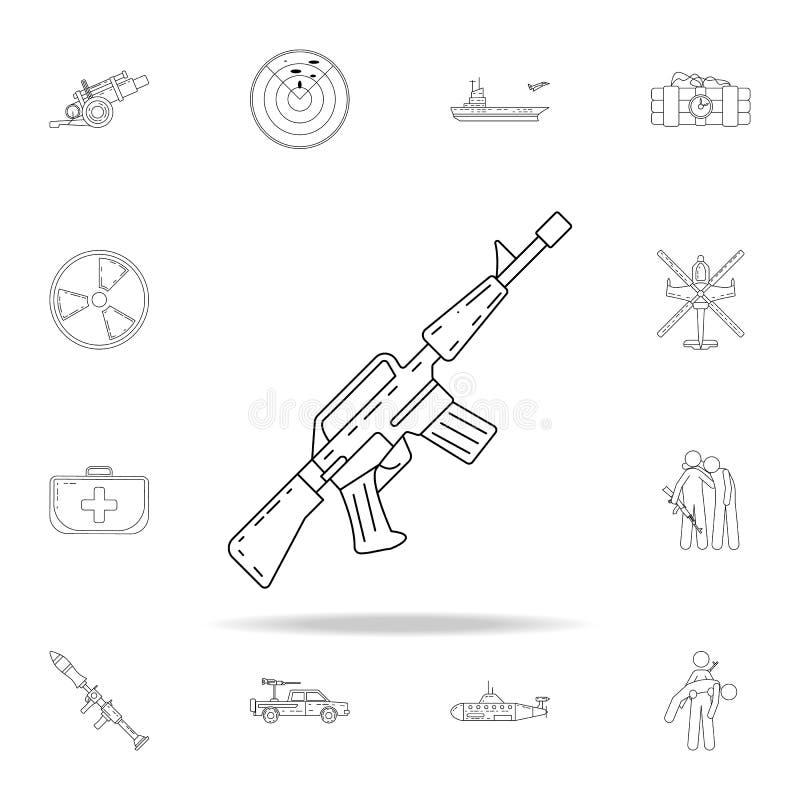значок оружия автоматический Комплект значков армии всеобщий для сети и черни иллюстрация штока