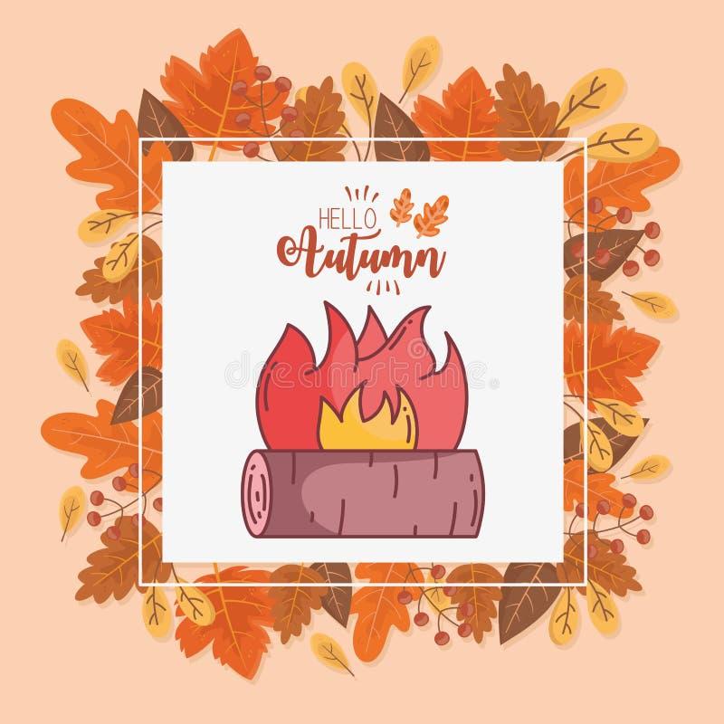 значок осеннего дизайна Campfire hello иллюстрация вектора