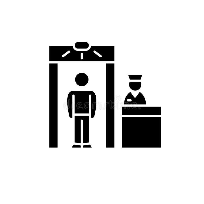 Значок осмотра черный, знак вектора на изолированной предпосылке Символ концепции осмотра, иллюстрация бесплатная иллюстрация