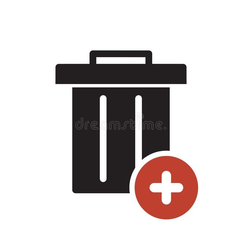 Значок отброса, значок инструментов и утварей с добавляют знак Значок отброса и новый, добавочный, положительный символ иллюстрация штока