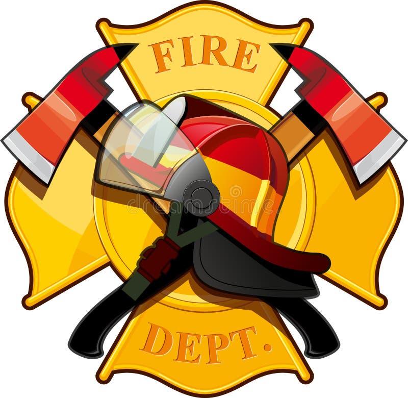 Значок отделения пожарной охраны иллюстрация штока
