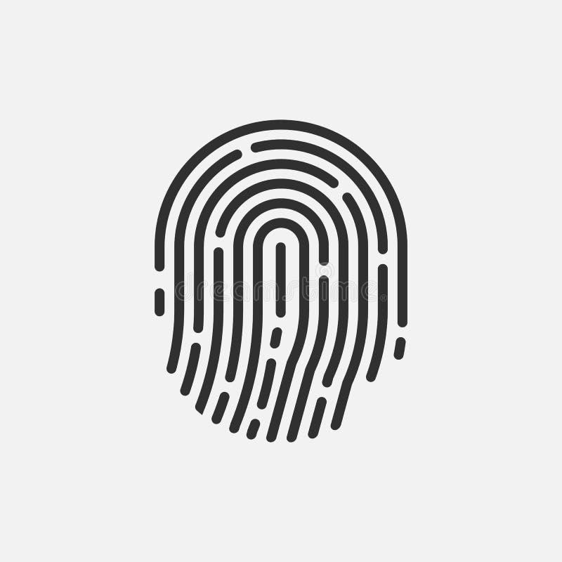 Значок отпечатка пальцев изолированный на белой предпосылке r иллюстрация вектора