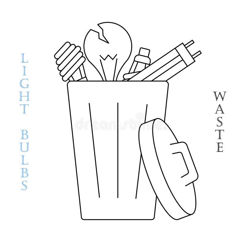 Значок отходов лампочек бесплатная иллюстрация