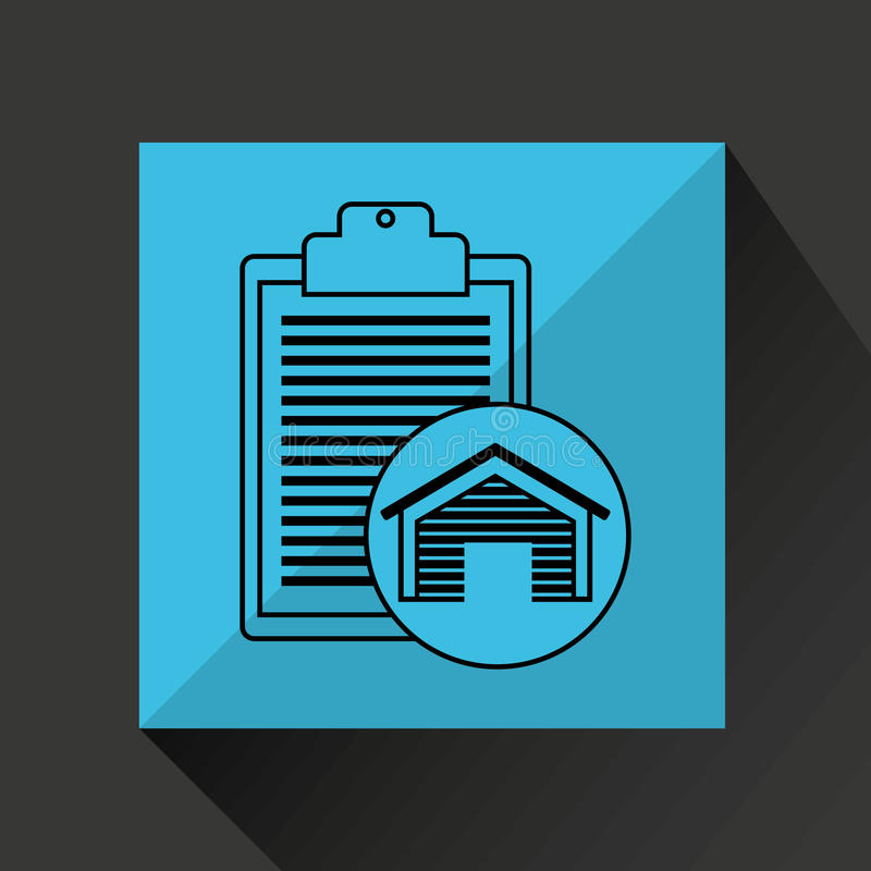 Значок отчете о контрольного списка здания склада иллюстрация штока