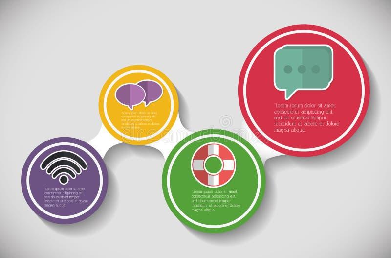 Значок офиса шага Infographic по мере того как вектор свирли предпосылки декоративный графический стилизованный развевает иллюстрация штока