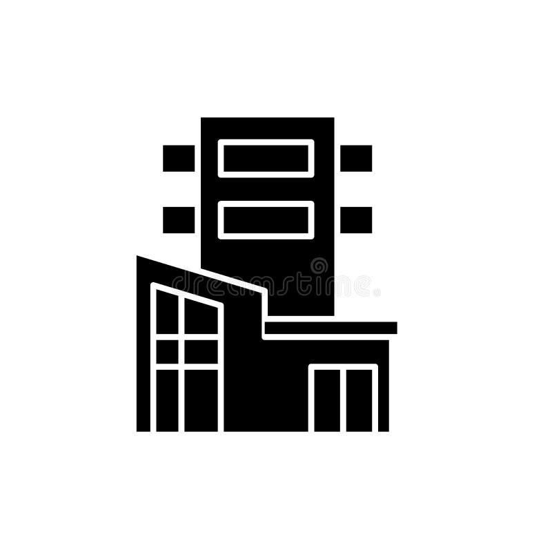 Значок офисного здания черный, знак вектора на изолированной предпосылке Символ концепции офисного здания, иллюстрация иллюстрация вектора