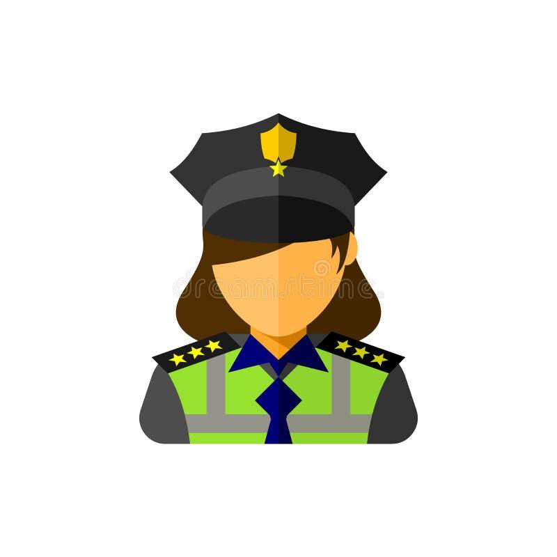 Значок офицера женщины полиции иллюстрация вектора