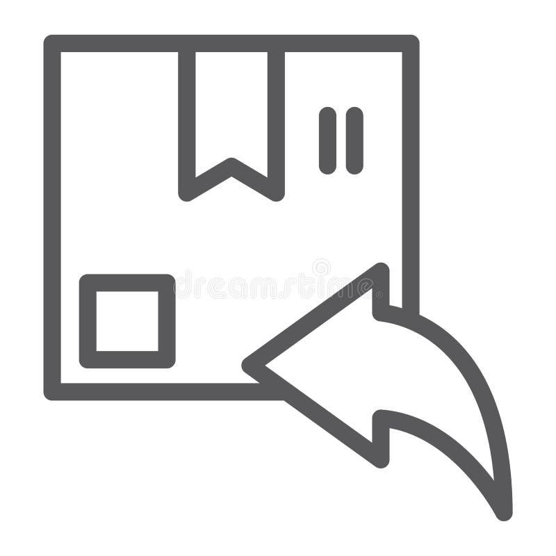 Значок очереди возврата, пакет и доставка, знак пакета, векторные графики, линейная картина на белой предпосылке иллюстрация вектора