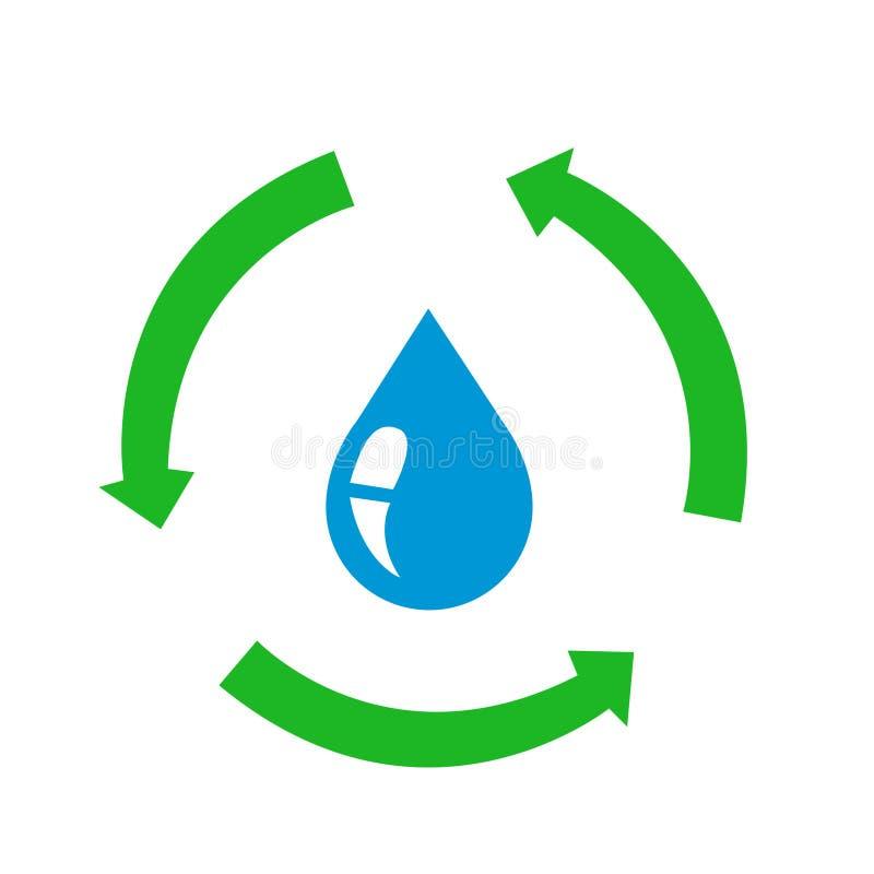 Значок падения воды с рециркулирует знак иллюстрация вектора