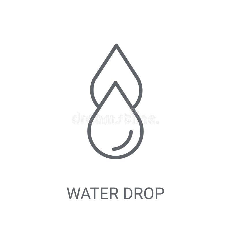 Значок падения воды Ультрамодная концепция логотипа падения воды на белом backgro иллюстрация вектора