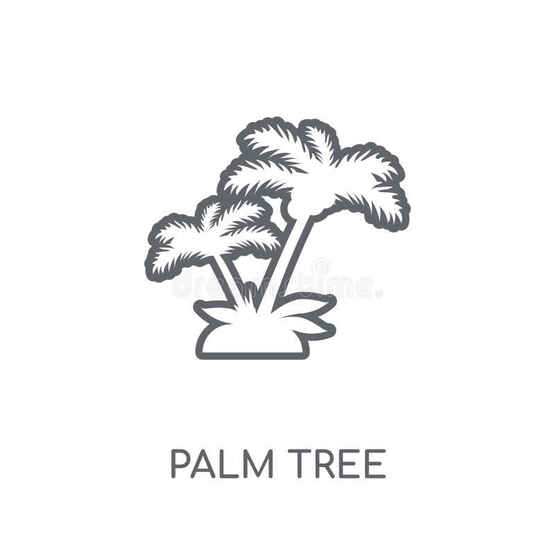 Значок пальмы линейный Современная концепция логотипа пальмы плана дальше иллюстрация штока