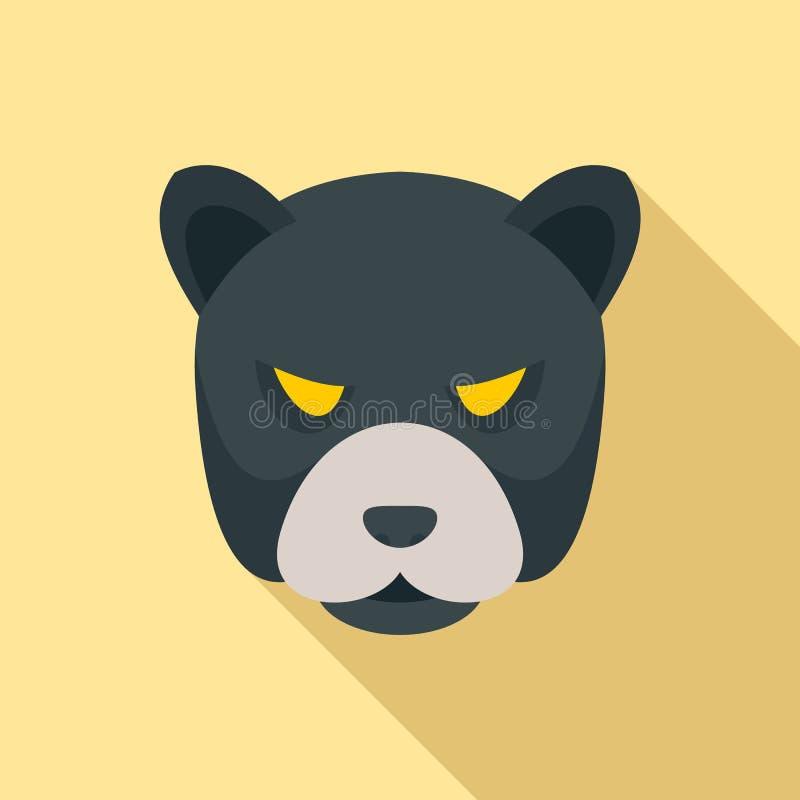 Значок пантеры головной, плоский стиль иллюстрация вектора