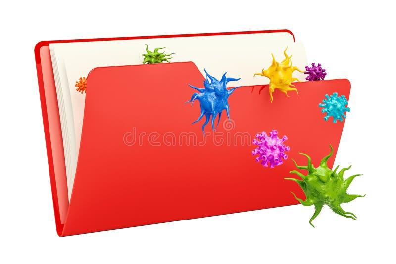 Значок папки компьютера с вирусом, переводом 3D бесплатная иллюстрация