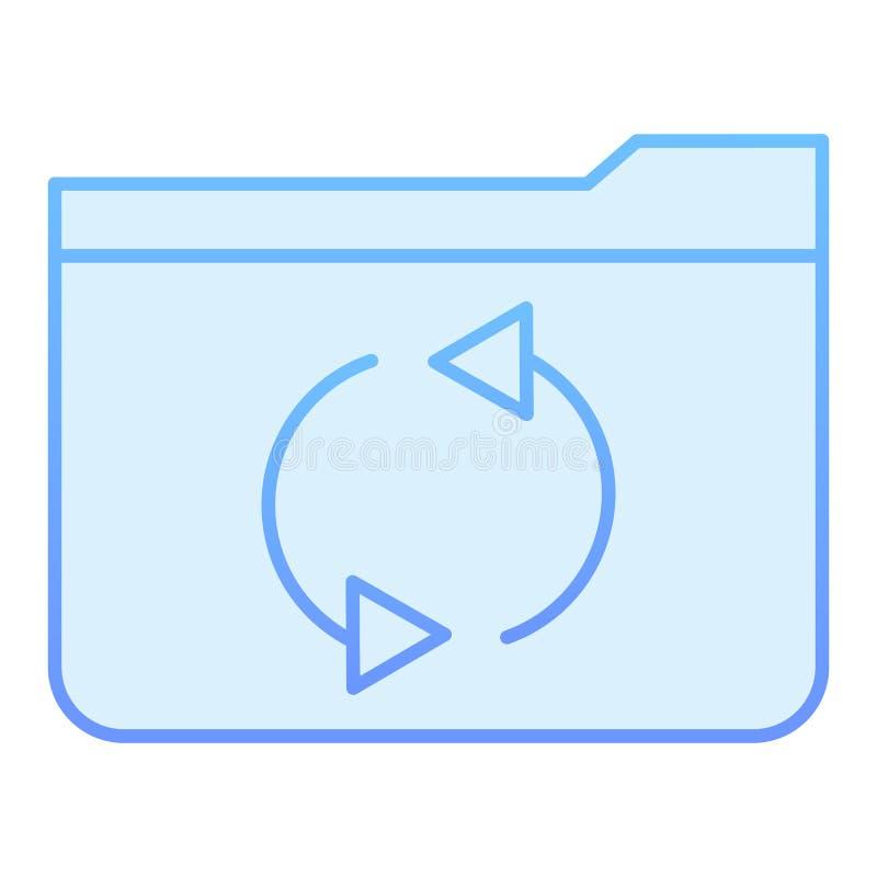 Значок папки обновления плоский Папка освежает голубые значки в ультрамодном плоском стиле Конструированный дизайн стиля градиент иллюстрация вектора
