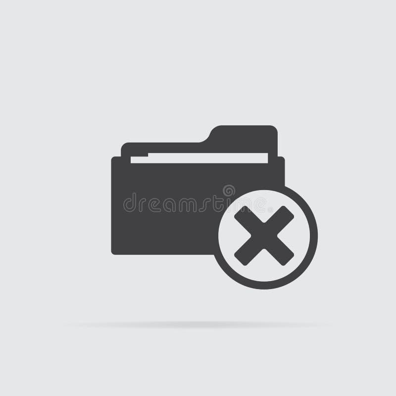 Значок папки удаления в плоском стиле изолированный на серой предпосылке бесплатная иллюстрация