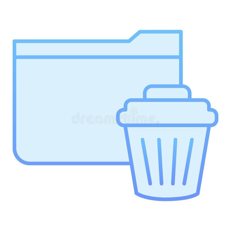 Значок папки удаления плоский Извлеките папку к значкам корзины голубым в ультрамодном плоском стиле Папка с дизайном стиля гради иллюстрация вектора