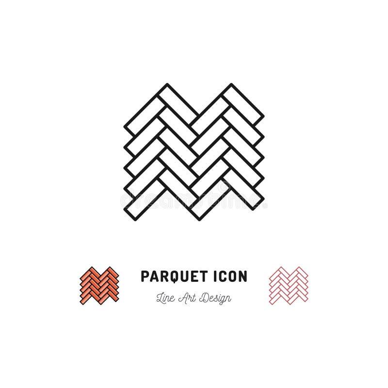 Значок партера, деревянный символ пола, Vector тонкая линия символ искусства иллюстрация вектора