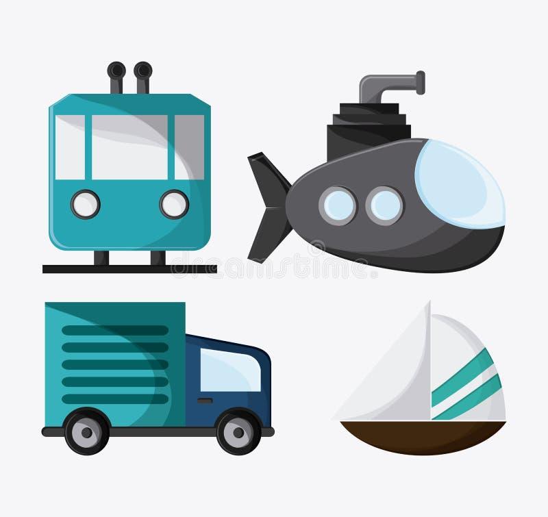 Значок парусника подводной лодки тележки вагонетки, вектор бесплатная иллюстрация