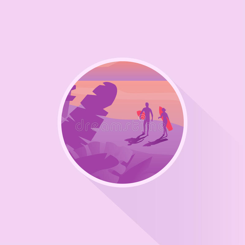 Значок пейзажа или дизайн значка с силуэтом 2 серферов бесплатная иллюстрация