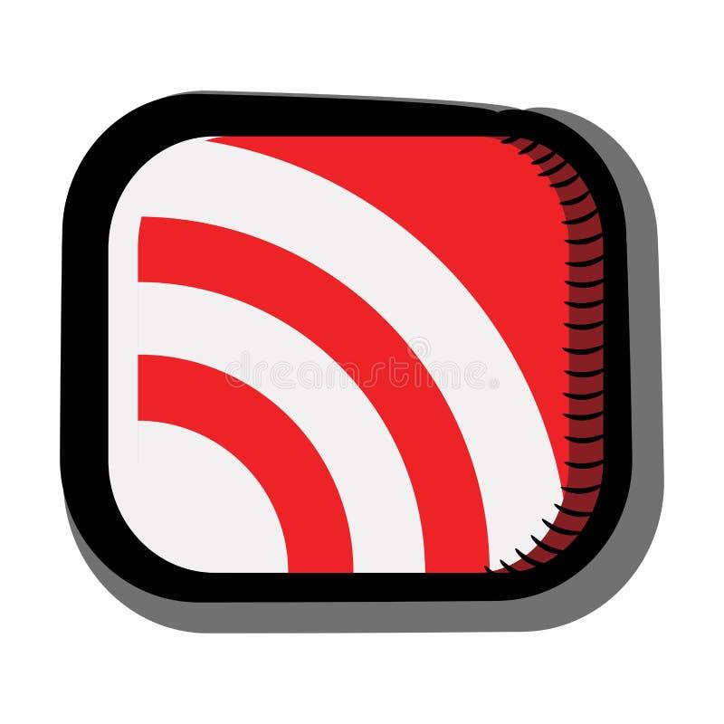 Значок передачи, радио с тенью E Символ, красный знак Иллюстрация вектора прозрачная Изолированное белое иллюстрация штока