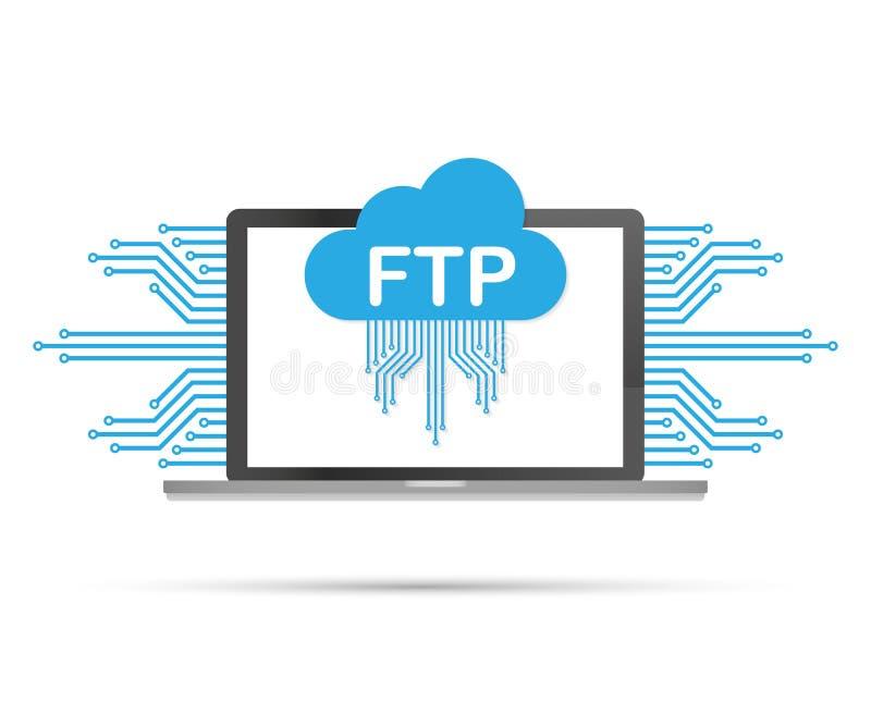 Значок передачи файлов FTP на компьтер-книжке Значок технологии FTP Данные по перехода к серверу также вектор иллюстрации притяжк иллюстрация штока