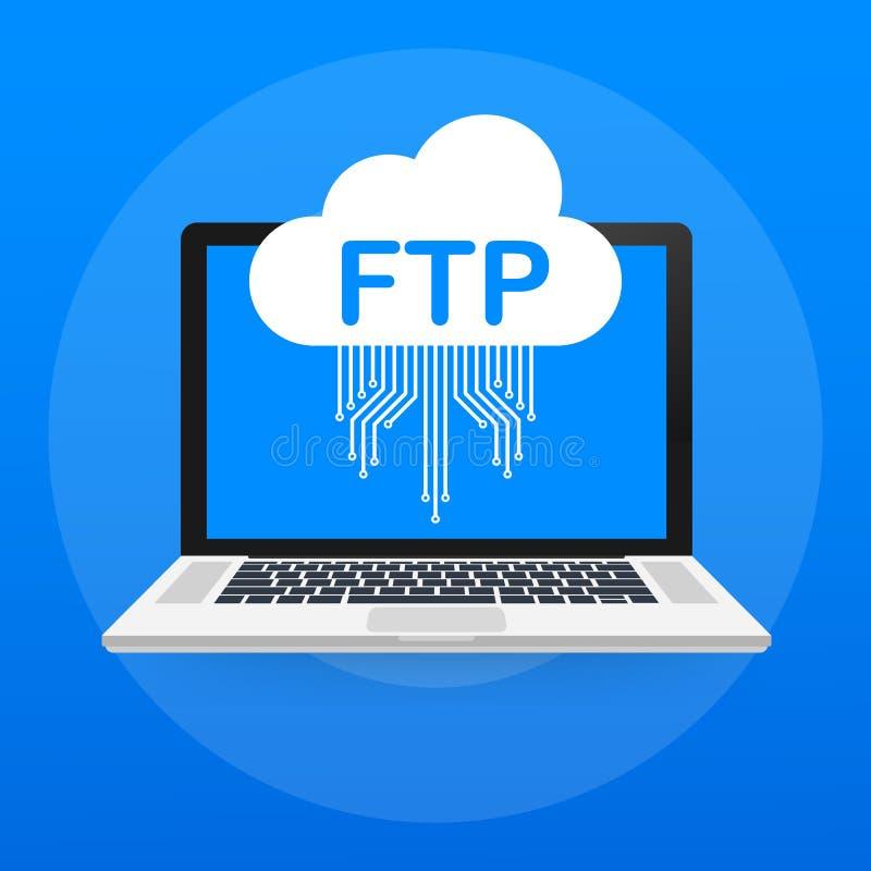 Значок передачи файлов FTP на компьтер-книжке Значок технологии FTP Данные по перехода к серверу также вектор иллюстрации притяжк иллюстрация вектора