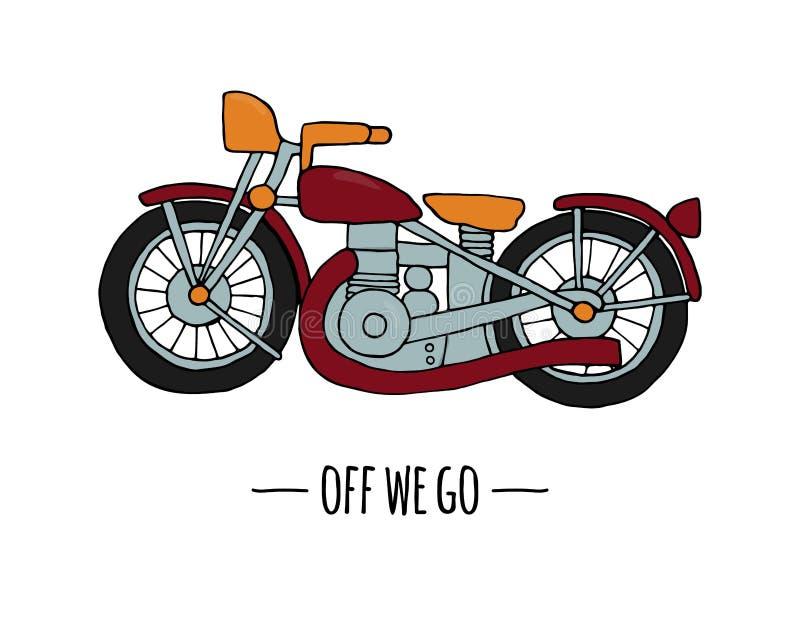 Значок перехода вектора ретро Иллюстрация вектора мотоцикла изолированная на белой предпосылке бесплатная иллюстрация
