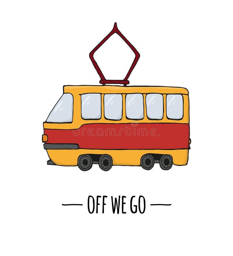 Значок перехода вектора ретро Иллюстрация вектора трамвая изолированная на белой предпосылке бесплатная иллюстрация