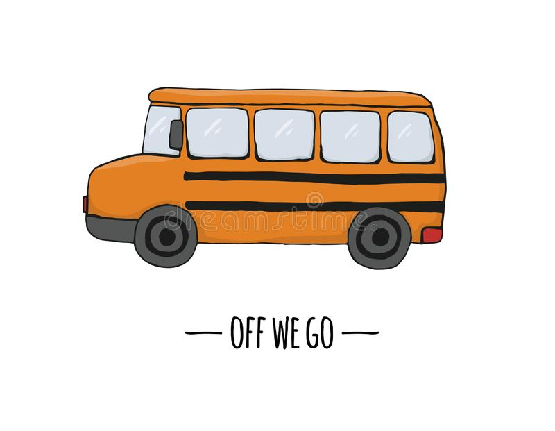 Значок перехода вектора ретро Иллюстрация вектора школьного автобуса изолированная на белой предпосылке иллюстрация штока