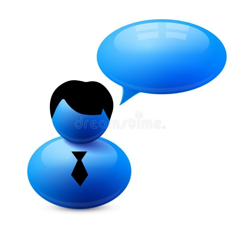 Значок персоны с пузырем речи иллюстрация штока