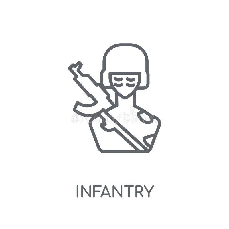 Значок пехоты линейный Современная концепция логотипа пехоты плана на wh бесплатная иллюстрация