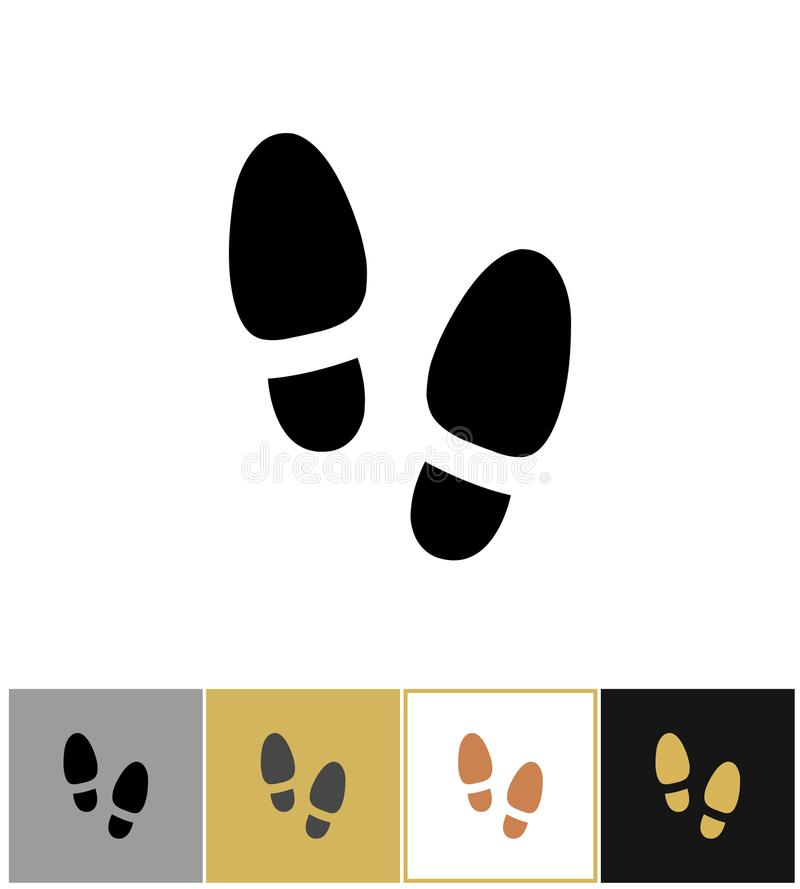 Значок печати шага ботинка, знак шага ботинок или символ shoeprint иллюстрация вектора