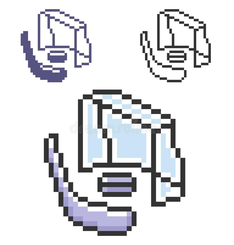 Значок пиксела хоккея в 3 вариантах иллюстрация вектора