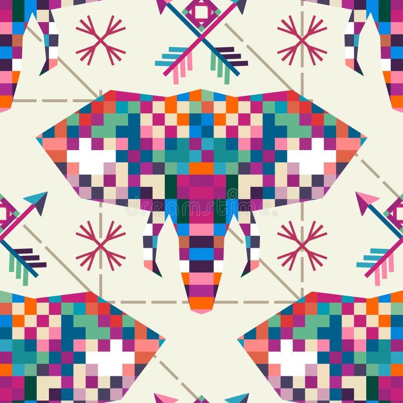 Значок пиксела животного головного слона триангулярный иллюстрация штока