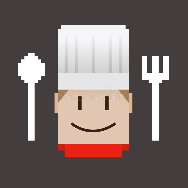 Значок пиксела шеф-повара бесплатная иллюстрация