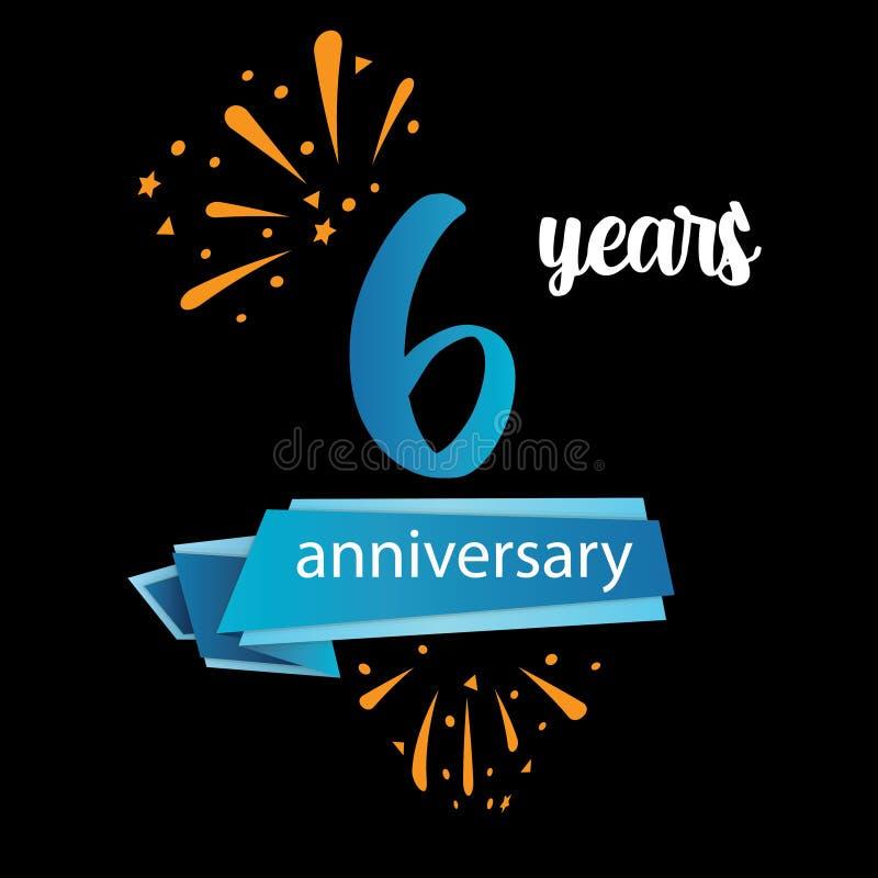 значок пиктограммы 6 годовщин, дня рождения леты ярлыка логотипа r Изолированный на черной предпосылке - векторе иллюстрация штока