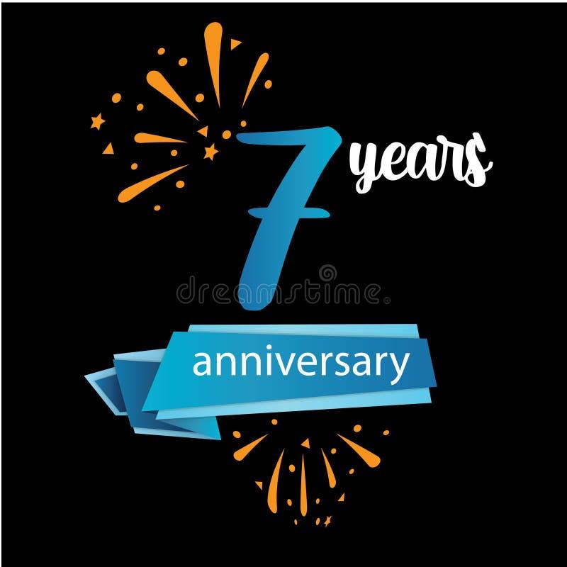 значок пиктограммы 7 годовщин, дня рождения леты ярлыка логотипа r Изолированный на черной предпосылке - векторе иллюстрация штока