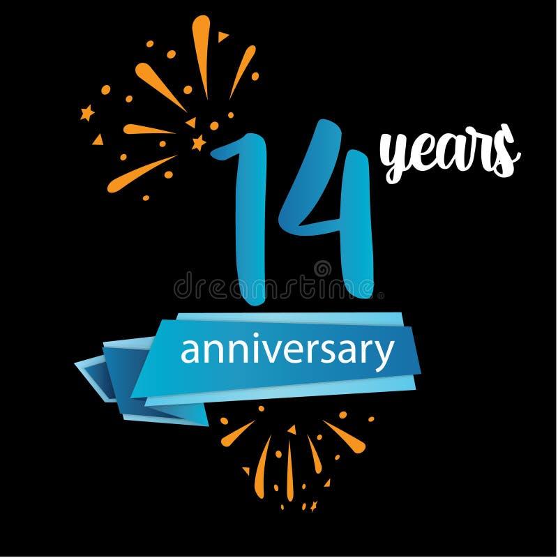 значок пиктограммы 14 годовщин, дня рождения леты ярлыка логотипа r Изолированный на черной предпосылке - векторе иллюстрация штока