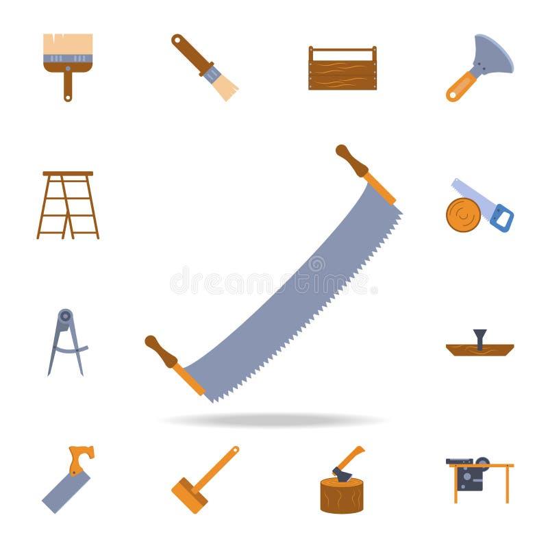значок пилы 2-ручки цвета Детальный набор инструментов конструкции цвета Наградной графический дизайн Один из значков собрания дл иллюстрация вектора