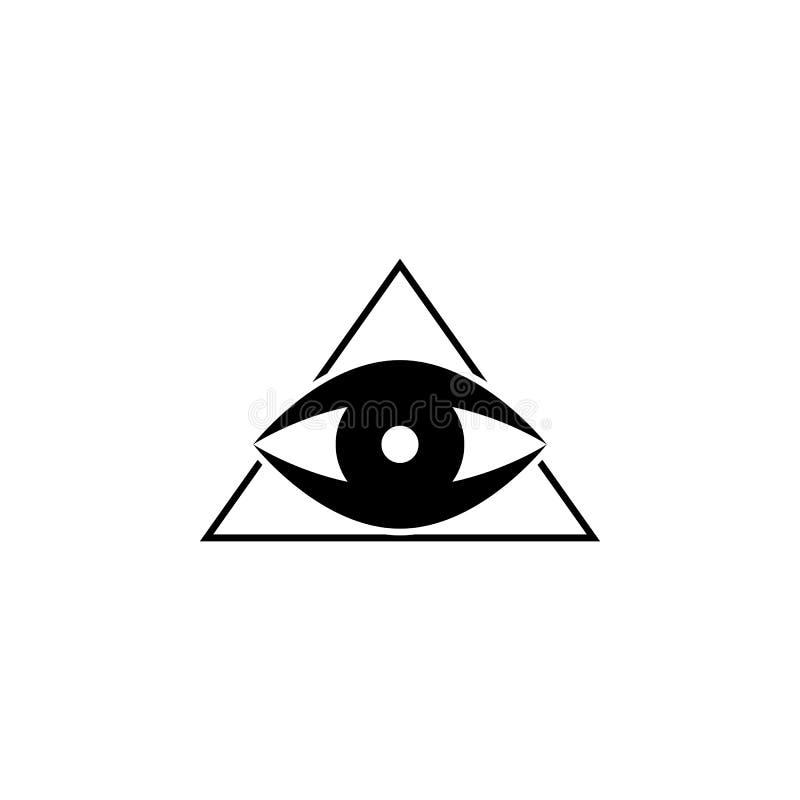 значок пирамиды и глаза Элемент значка татуировки для передвижных apps концепции и сети Пирамиду стиля глифа и значок глаза можно бесплатная иллюстрация