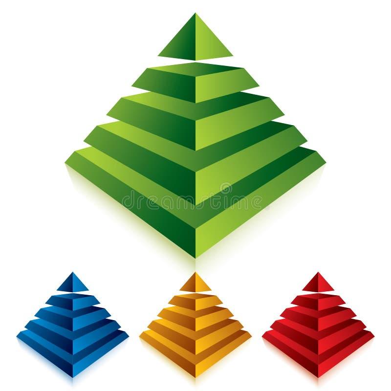 Значок пирамиды изолированный на белой предпосылке иллюстрация вектора