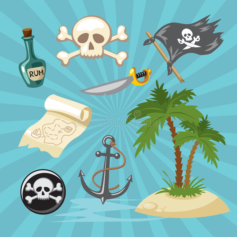 Значок пирата установленный для игры символ пирата стоковое изображение rf