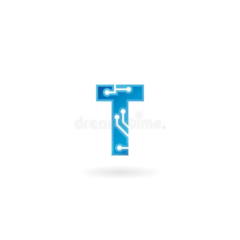 Значок письма t Логотип, компьютер и данные по технологии умные связали дело, высок-техник и новаторское, электронное иллюстрация штока