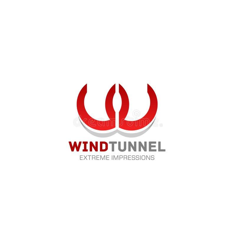 Значок письма w вектора tunel ветра иллюстрация штока